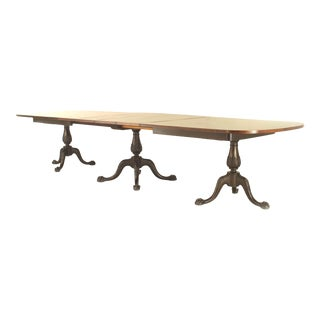 English Chippendale Style Triple Pedestal Base Dining Table For Sale