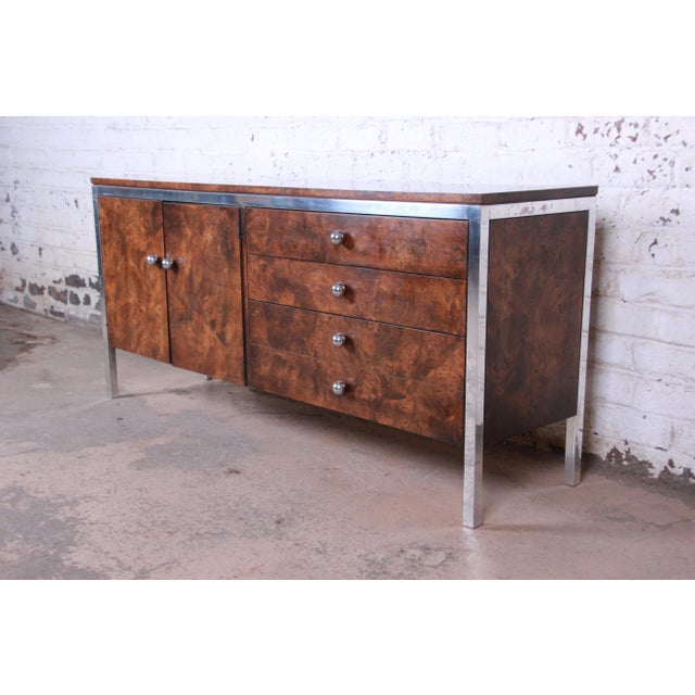 Mid-Century Modern Tomlinson Mid-Century Modern Burl Wood and Chrome Sideboard Credenza, 1970s For Sale - Image 3 of 13