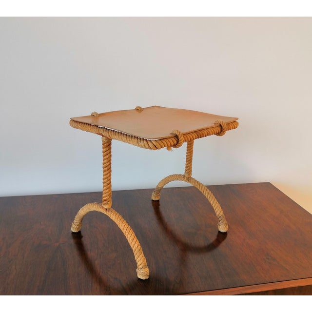 Adrien Audoux and Frida Minet French Rope Square Side Table by Audoux & Minnet For Sale - Image 4 of 11