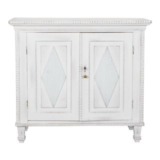 Swedish Two-Door Cabinet with Fluted Diamond Front For Sale