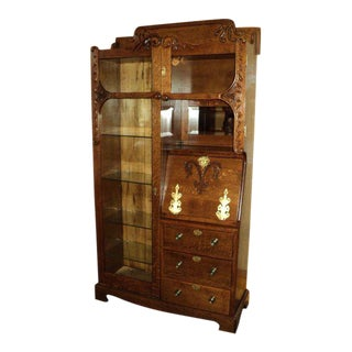 Antique Oak Side by Side Secretary Bookcase For Sale