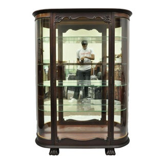 Antique American Empire Bow Glass Carved Mahogany Claw Foot China Cabinet For Sale