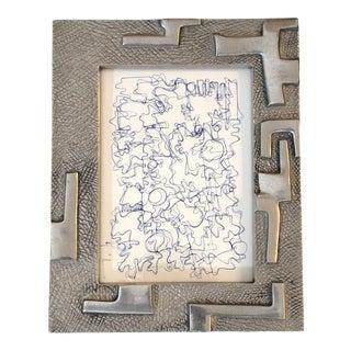 Vintage Original Wayne Cunningham Abstract Ink Drawing Vintage Metal Sculpted Frame For Sale
