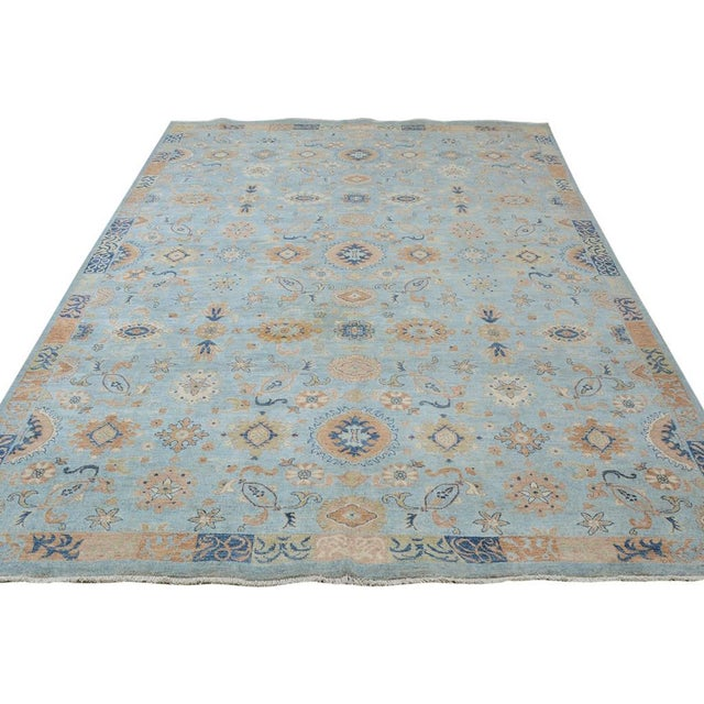 Kafkaz Peshawar Reid Blue & Tan Wool Rug - 9'0 X 12'3 For Sale In New York - Image 6 of 7