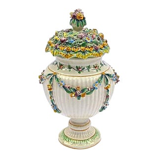 Italian Antique Floral & Fruit Urn