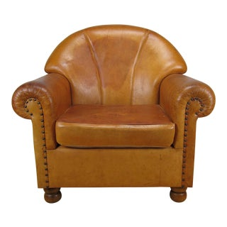 Art Deco Style French Leather Club Chair For Sale