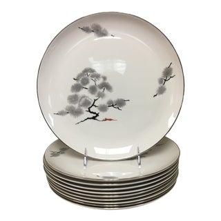 Pickard Hemlock Bonsai Tree Dinner Plates Set 10 For Sale