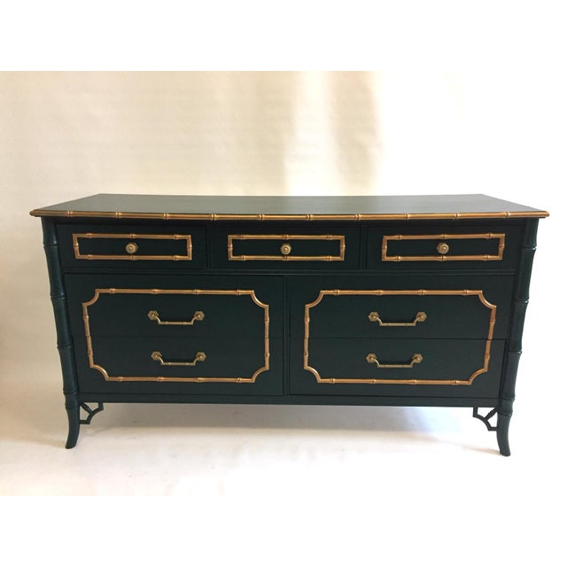 1970s Faux Bamboo Vintage Dresser With Mirror For Sale - Image 5 of 5