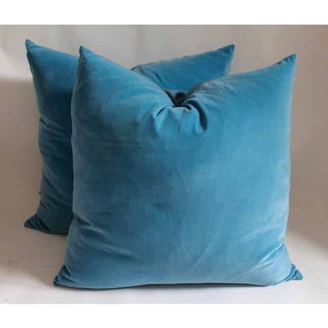 Vintage Velvet pillows in great condition with great blue color. Each pillow has linen backing and has been fitted with a...