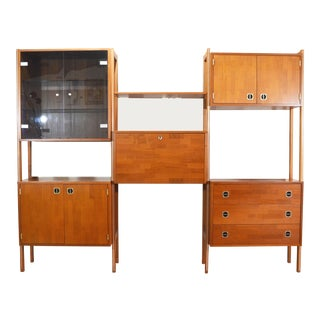Mid Century Teak Wall Unit For Sale