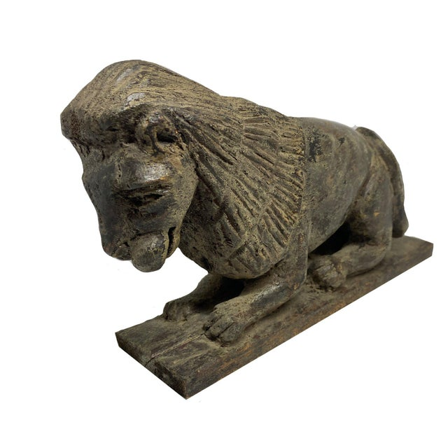 Mid 19th Century Folk Art Style Carved Wooden Lion For Sale - Image 4 of 6
