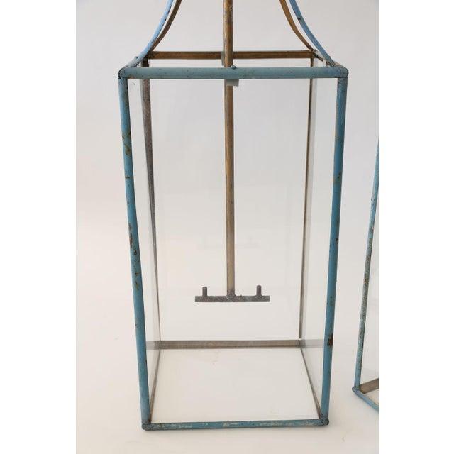 French Large Rectangular Iron Lantern For Sale - Image 3 of 6