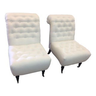 Modern White Tufted Slipper Chairs- A Pair For Sale