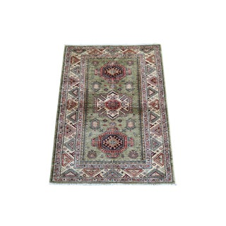 Shirvan Design Green Colorful Hand Made Rug - 5' X 3'3""