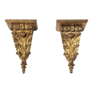 Italian Gilt Wood Brackets - a Pair For Sale