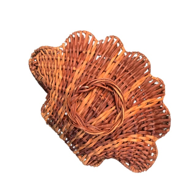 Boho Chic Vintage Rattan Clam Shell Hinged Container For Sale - Image 3 of 6
