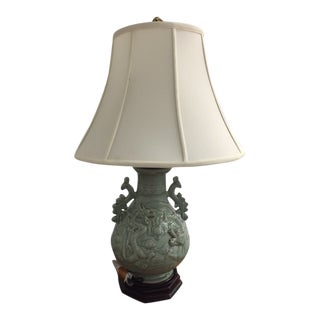 Large Celadon Dragon Maitland- Smith Table Lamp For Sale