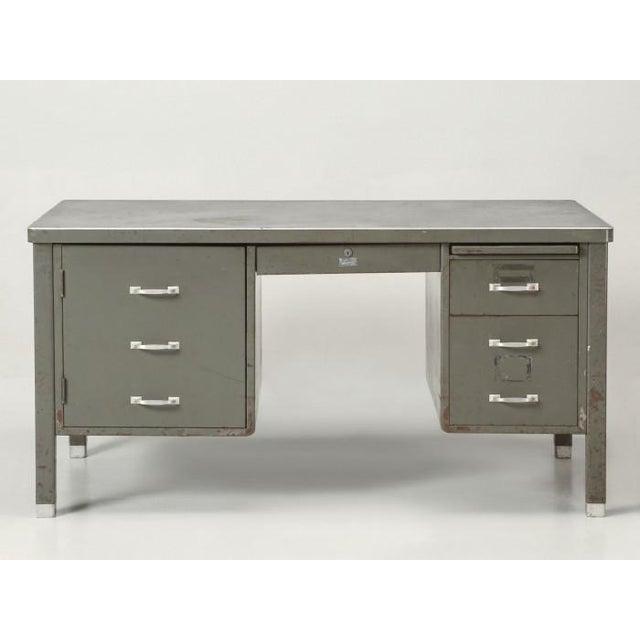 Steel American Industrial Desk in Original Condition For Sale - Image 4 of 12