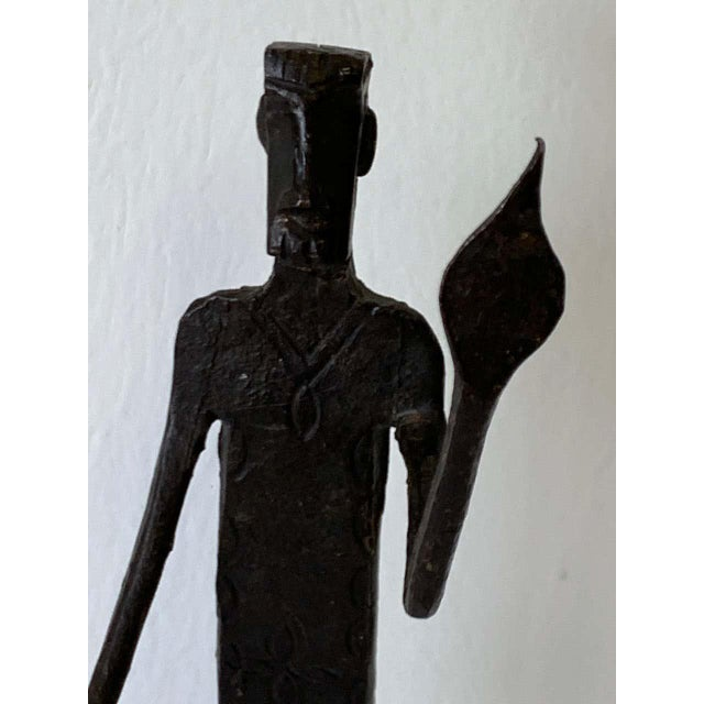 Wrought Iron Walking Man and Shadow Bookends For Sale - Image 11 of 13