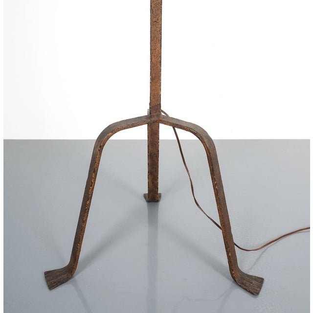 1950s Jean Touret for Atelier Marolles Wrought Iron Floor Lamp, France, Circa 1955 For Sale - Image 5 of 8