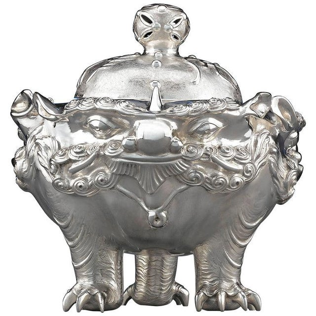 Meiji Period Japanese Silver Censer For Sale - Image 4 of 4