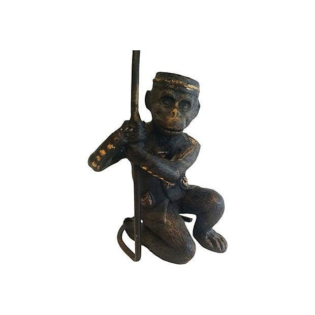 Vintage solid brass monkey figurine business card holder. No maker's mark.