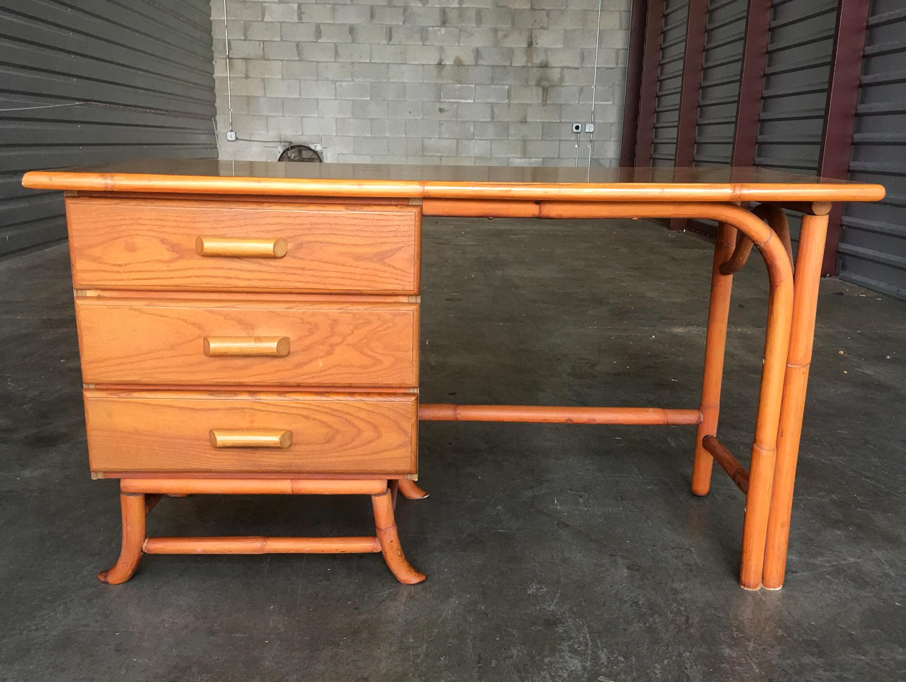 Vintage Rattan Desk And Chair   Image 4 Of 4