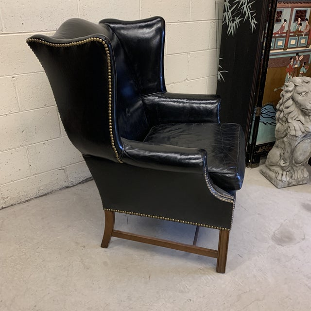 Chippendale Black Leather Wing Chair For Sale - Image 3 of 13
