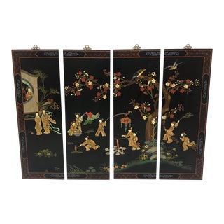 Asian Black Lacquer Panels - Set of 4
