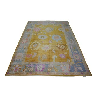 Turkish Contemporary Hand-Knotted Oushak Rug For Sale