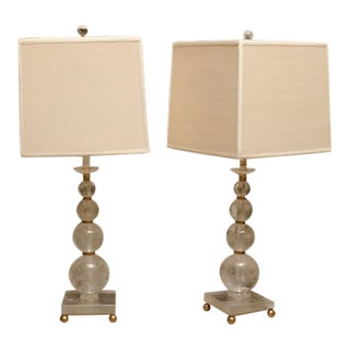 Pair of Rock Crystal Ball Lamps with Custom Shades For Sale