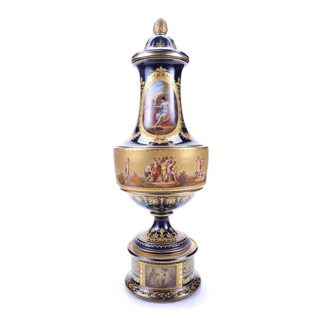 "19th c. Royal Vienna Fabulous 22"" Museum Piece Porcelain Lidded Urn. Signed. This piece has exquisite detail and design!"