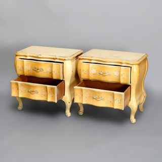 French Provincial Paint Decorated 2-Drawer Side Stands - a Pair Preview