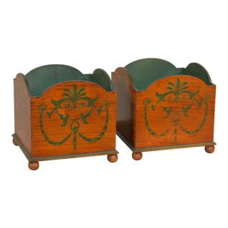 Edwardian Satinwood Planters - a Pair For Sale