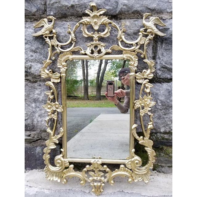 Vintage Brass Chippendale Style Ho Ho Bird Mirror For Sale - Image 13 of 13