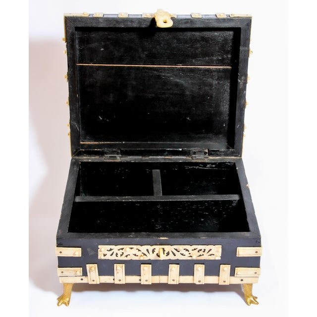 Black Large Decorative Anglo-Indian Vizagapatam Footed Box For Sale - Image 8 of 13