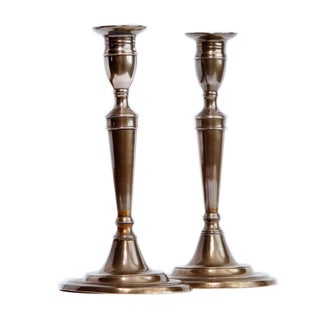 18th Century English Bell Metal Candlesticks - a Pair For Sale