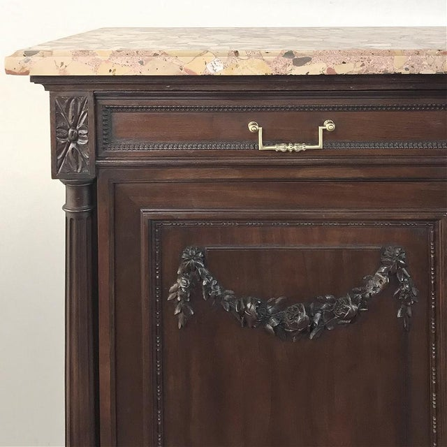 19th Century French Walnut Louis XVI Marble Top Buffet For Sale - Image 10 of 13
