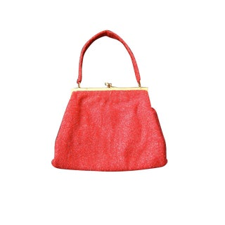 Gucci Exquiste Scarlet Glass Beaded Evening Bag C 1970 For Sale