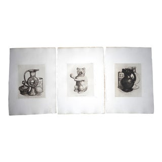 Antique Ltd. Ed. English Pottery Etchings-Set of 3 For Sale