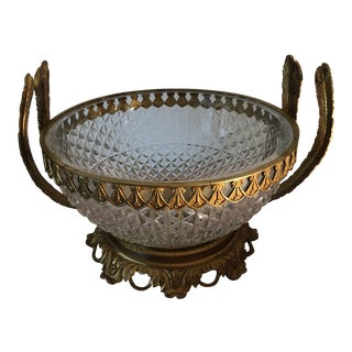 Antique Art Deco Brass and Crystal Bowl