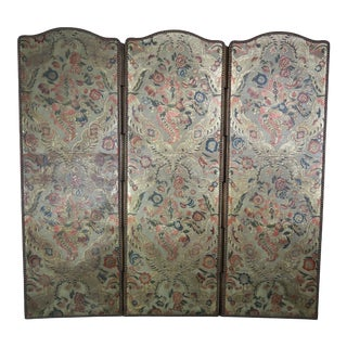 19th Century Embossed Three-Panel Leather Screen For Sale