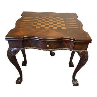 1990s Traditional Mahogany & Leather Maitland Smith Versatile Game Table For Sale