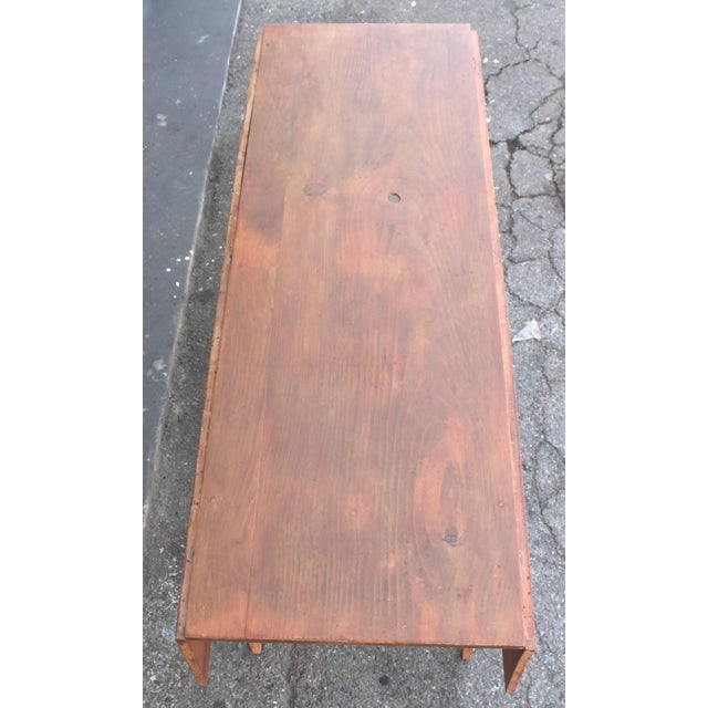 19th Century Original Salmon Painted Farm Table For Sale In Los Angeles - Image 6 of 7