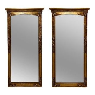 Late 19th Century Neoclassical Style Gilt Wood Mirrors - a Pair For Sale