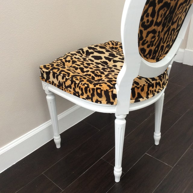 Leopard Fabric Louis XVI Round Back Side Chair For Sale - Image 4 of 7