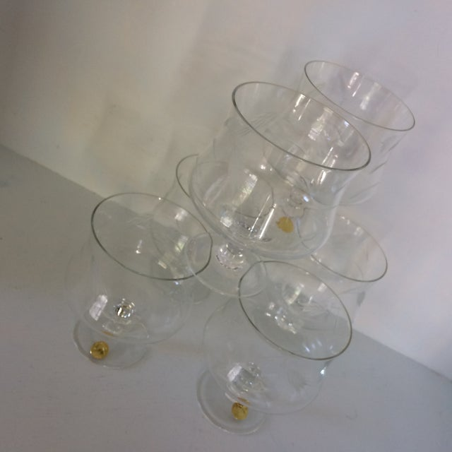 Sasaki Noritaki Mid-Century Modern Wheat Patterned Crystal Brandy Cocktail Glasses - Set of 6 For Sale - Image 12 of 13