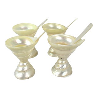 Mother of Pearl Bowl/Cup Set & Matching Spoons - Set of 4 For Sale
