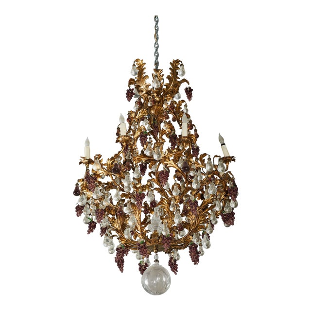 An Elaborate French 1930s Vinegrapes & Drops Chandelier For Sale