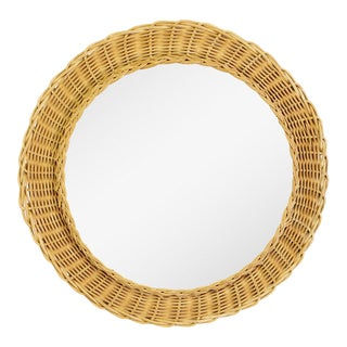 1960s French Rattan Round Mirror For Sale